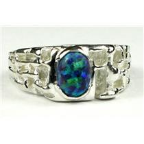 925 Sterling Silver Men's Nugget Ring, Created Blue/Green Opal, SR197