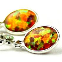 925 Sterling Silver Leverback Earrings, Created Red/Brown Opal, SE001