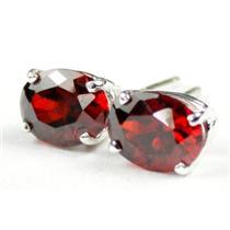 925 Sterling Silver Post Earrings, Garnet CZ, SE002