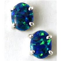 925 Sterling Silver Post Earrings, Created Blue/Green Opal, SE002C