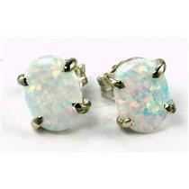 925 Sterling Silver Post Earrings, Created White Opal, SE002C