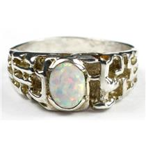 925 Sterling Silver Men's Nugget Ring, Created White Opal, SR197