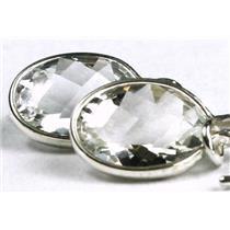 925 Sterling Silver Threader Earrings, Silver Topaz, SE005