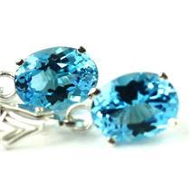 Swiss Blue Topaz, .925 Sterling Silver Leverback Earrings, SE007
