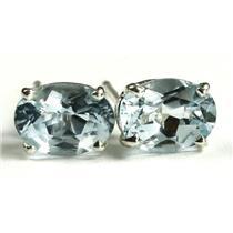 925 Sterling Silver Post Earrings, Aquamarine, SE002