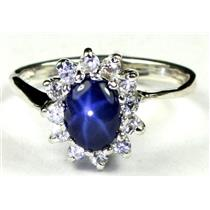 925 Sterling Silver Ladies Ring, Natural Blue Star Sapphire, SR235