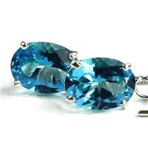 SE003, Swiss Blue Topaz, 925 Sterling Silver Threader Earrings