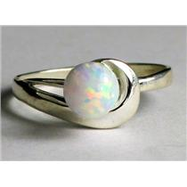 SR340, 6mm Created White Opal, 925 Sterling Silver Ring