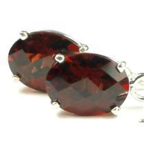925 Sterling Silver Threader Earrings, Mozambique Garnet, SE003