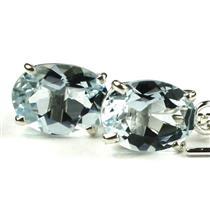 925 Sterling Silver Threader Earrings, Aquamarine, SE003