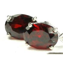 925 Sterling Silver Threader Earrings, Garnet CZ, SE003