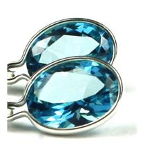 925 Sterling Silver Leverback Earrings, Paraiba Topaz, SE001