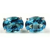 925 Sterling Silver Post Earrings, Paraiba Topaz, SE002