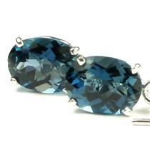 925 Sterling Silver Threader Earrings, London Blue Topaz, SE003