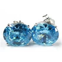 925 Sterling Silver Post Earrings, Swiss Blue CZ, SE102