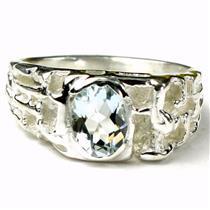 925 Sterling Silver Men's Nugget Ring, Aquamarine, SR197