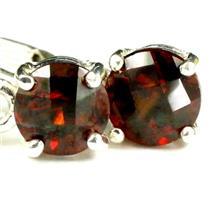 925 Sterling Silver Leverback Earrings, Mozambique Garnet, SE017