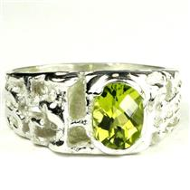 925 Sterling Silver Men's Nugget Ring, Peridot, SR197