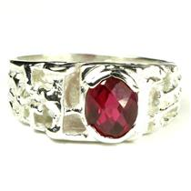 925 Sterling Silver Men's Nugget Ring, Crimson Fire Topaz, SR197