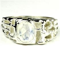 925 Sterling Silver Men's Nugget Ring, Rainbow Moonstone, SR197