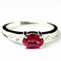 SR362, Created Ruby, 925 Sterling Silver Ladies Ring