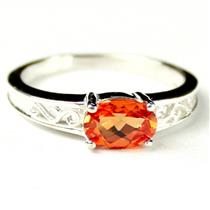 SR362, Created Padparadsha Sapphire, 925 Sterling Silver Ladies Ring