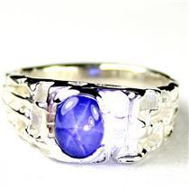 925 Sterling Silver Men's Nugget Ring, Blue Star Sapphire, SR197