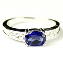SR362, Created Blue Sapphire, 925 Sterling Silver Ladies Ring