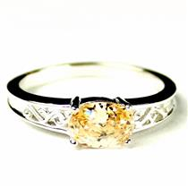 SR362, Champagne CZ, 925 Sterling Silver Ladies Ring