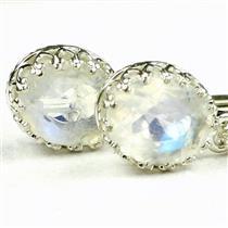 925 Sterling Silver Crown Bezel Leverback Earrings, Rainbow Moonstone, SE109