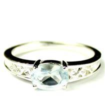 SR362, Aquamarine, 925 Sterling Silver Ring