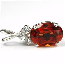 925 Sterling Silver Pendant, Padparadscha CZ, SP043