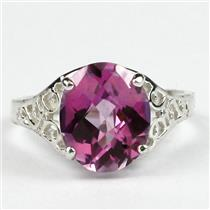 SR057, Pure Pink Topaz, 925 Sterling Silver Ring