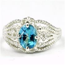 Swiss Blue CZ, 925 Sterling Silver Ring, SR365
