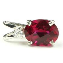 925 Sterling Silver Pendant, Created Ruby, SP021