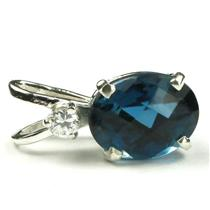 925 Sterling Silver Pendant, London Blue Topaz, SP021
