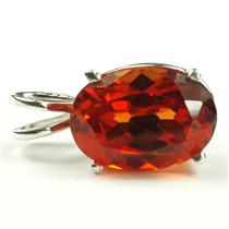 925 Sterling Silver Pendant, Created Padparadscha Sapphire, SP006