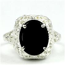 SR009, Black Onyx, 925 Sterling Silver Antique Style Filigree Ring
