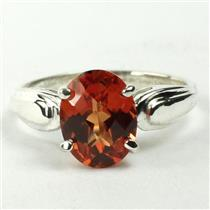 SR058, Created Padparadsha Sapphire, 925 Silver Ring