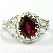Crimson Topaz, 925 Sterling Silver Ring, SR070