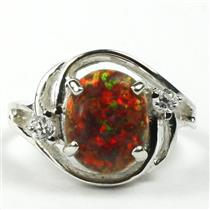 SR021, Created Red Brown Opal, 925 Sterling Silver Ring