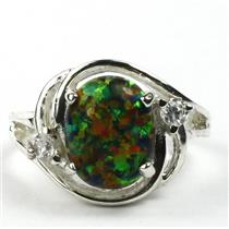 SR021, Created Black Opal, 925 Sterling Silver Ring