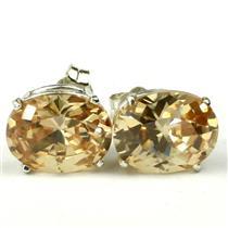 925 Sterling Silver Post Earrings, Champagne CZ, SE102