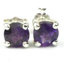 925 Sterling Silver Post Earrings, Amethyst, SE012