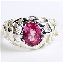 925 Sterling Silver Men's Nugget Ring, Created Pink Sapphire, SR168