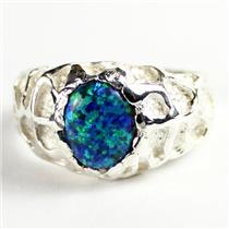 925 Sterling Silver Men's Nugget Ring, Created Blue Green Opal, SR168