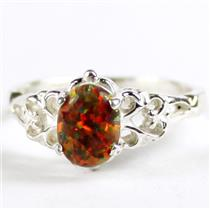 SR302, Created Red Brown Opal, 925 Sterling Silver Ring