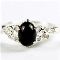 SR302, Black Onyx, 925 Sterling Silver Ladies Ring