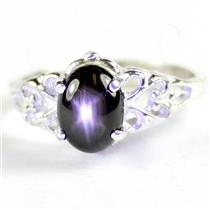 925 Sterling Silver Ladies Ring, Black Star Sapphire, SR302