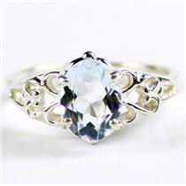 SR302, Aquamarine, 925 Sterling Silver Ladies Ring